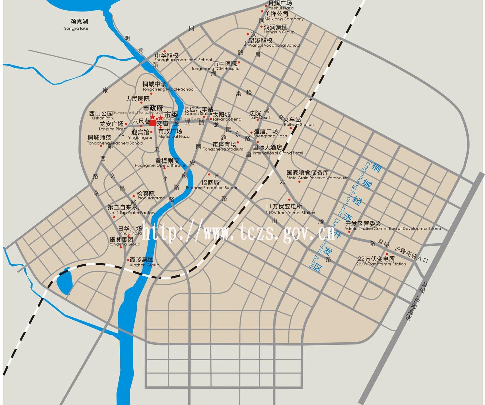 桐城市区地图